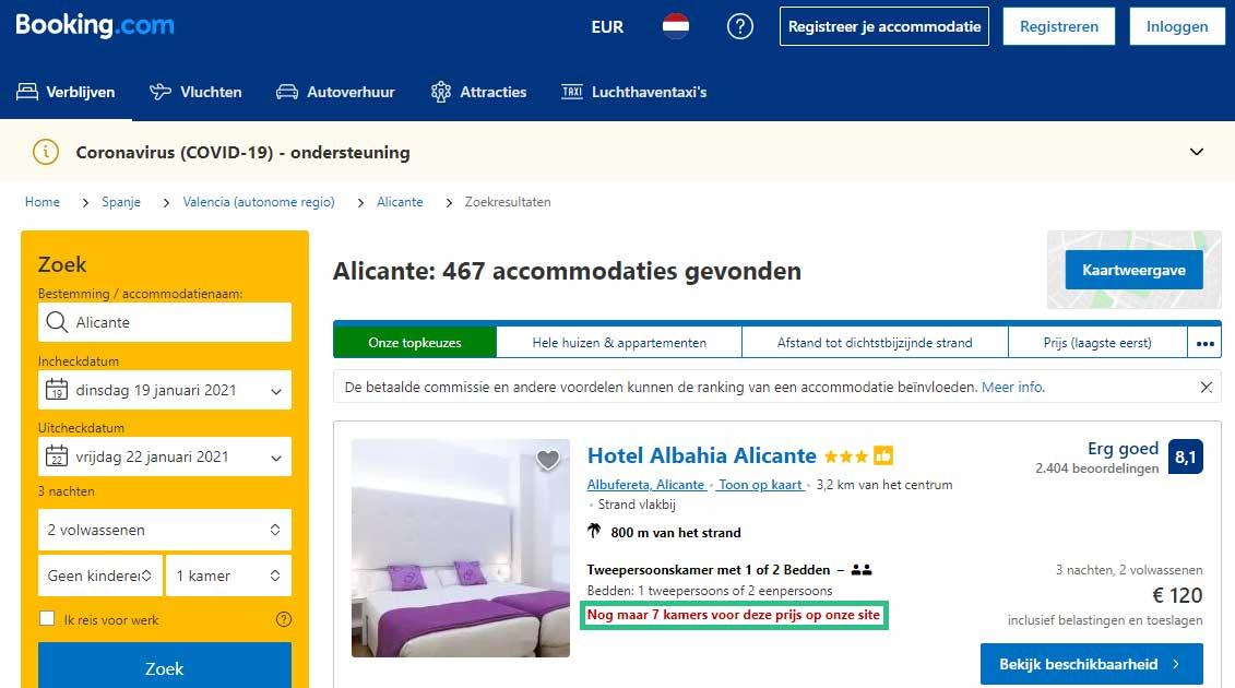 Booking.com Cialdini schaarste
