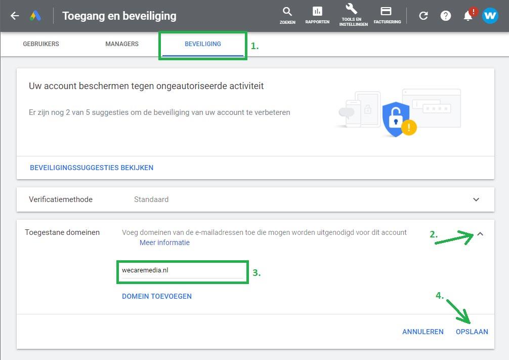Google Ads gebruiker toevoegen stap 2