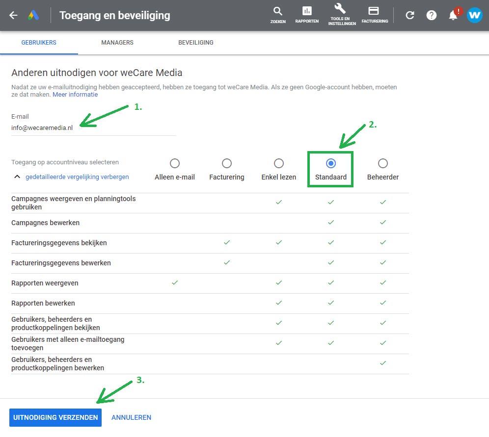 Google Ads gebruiker toevoegen stap 3