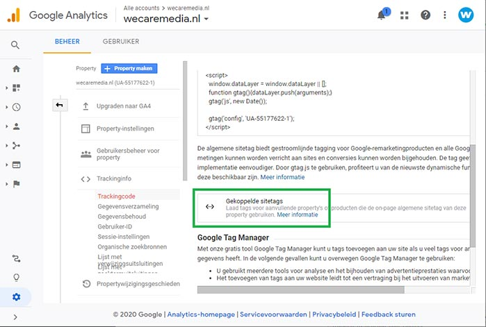 Google Analytics dual tracking stap 7