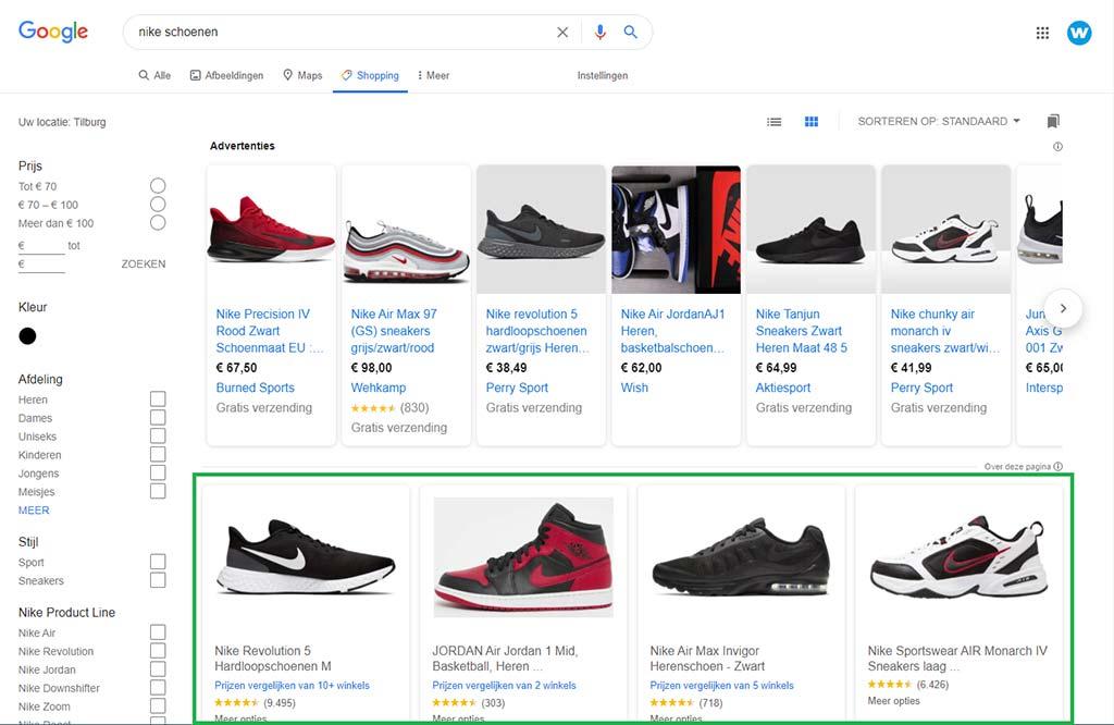 Google Shopping organische resultaten