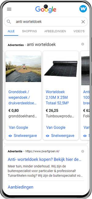 Google Shopping voorbeeld smartphone