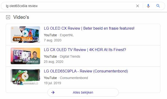 Google zoeken YouTube video's