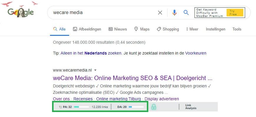 MOZbar PageRank Da PA