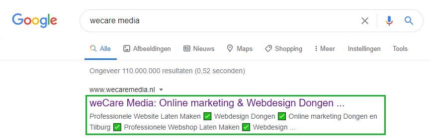 SERP-resultaat Google zoeken