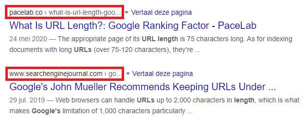 Lengte URL Google SERP